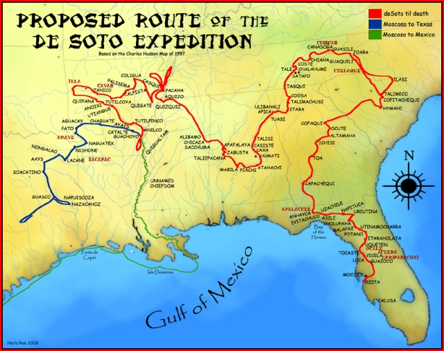 "A map showing a proposed de Soto Expedition route, based on the 1997 Charles M. Hudson book ""Knights of Spain, Warriors of the Sun"". (Permission details CC-BY-SA-3.0; Released under the GNU Free Documentation) License."