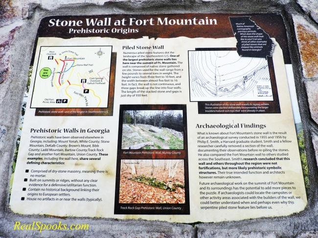 Fort Mountain Plaque Near Stone Wall