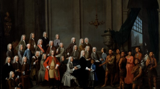 Tamachichi, Creek Delegation, and the Trustees at Westminister Palace by William Verelst - 1734